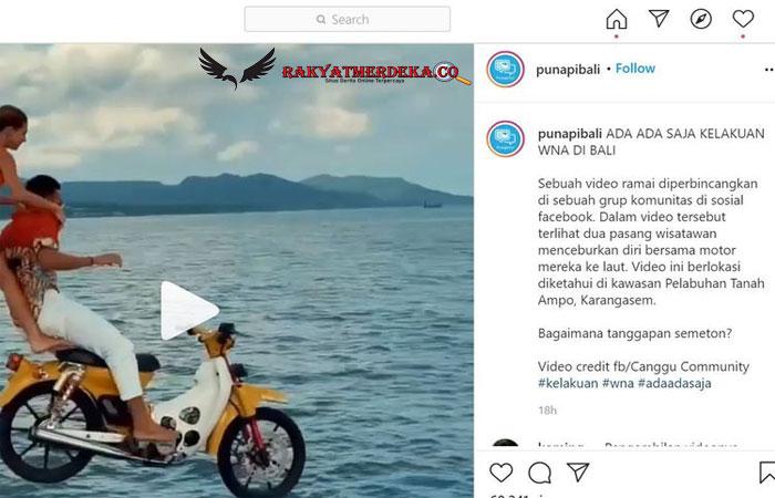 Viral Video Sepasang Turis Asing Ceburkan Diri Bersama Motor ke Laut